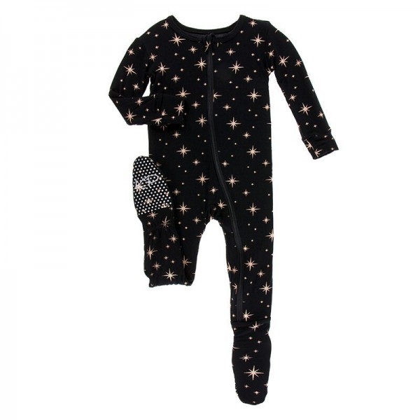 Holiday Print Footie with Zipper in Rose Gold Bright Stars