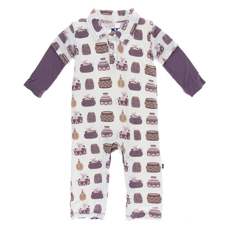 26024bf3f5c7 Kickee Pants Print Long Sleeve Double Layer Polo Romper in Natural Bush Baby
