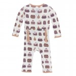 Print Coverall with Zipper in Natural Bush Baby