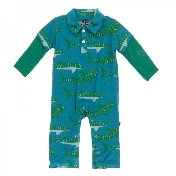 Print Long Sleeve Polo Romper in Seagrass Whale Shark