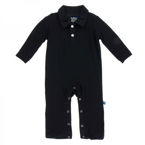 Solid Long Sleeve Polo Romper in Midnight