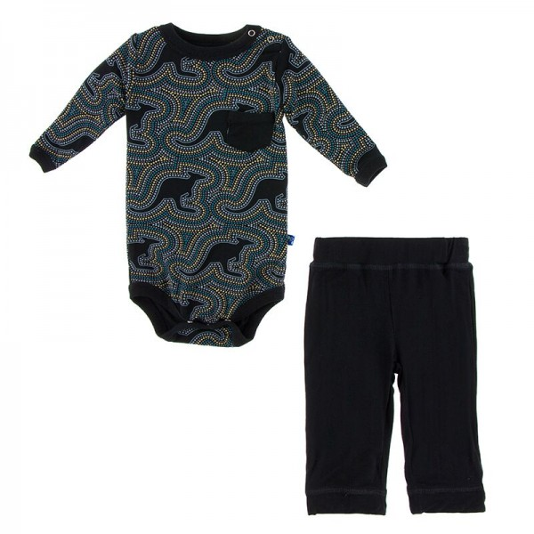 Print Long Sleeve Pocket One Piece and Pants outfit set in Midnight Kangaroo