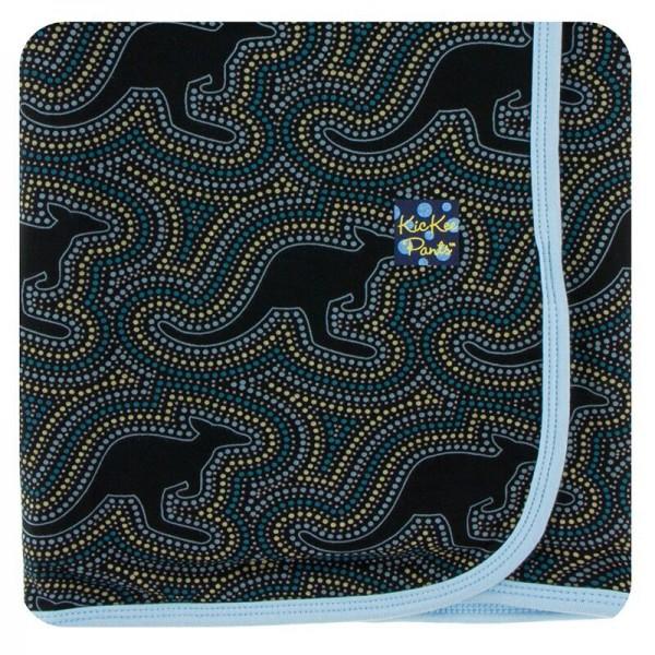 Print Swaddling Blanket in Midnight Kangaroo