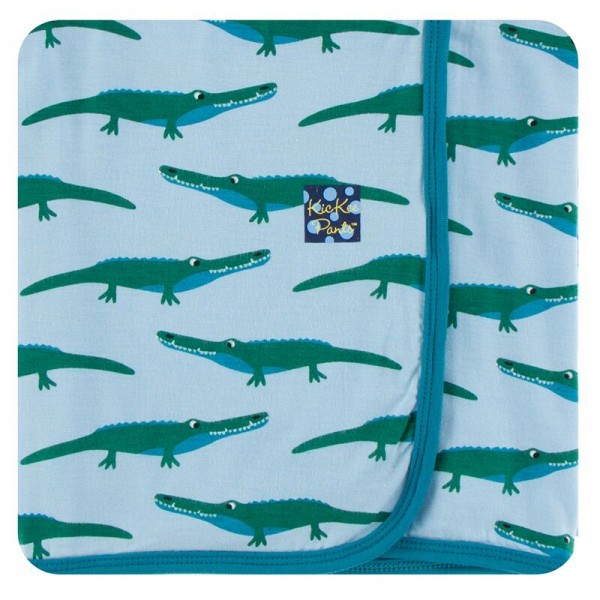 Print Swaddling Blanket in Pond Crocodile