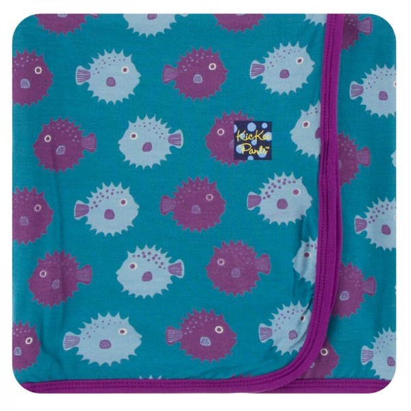 Print Swaddling Blanket in Seagrass Puffer