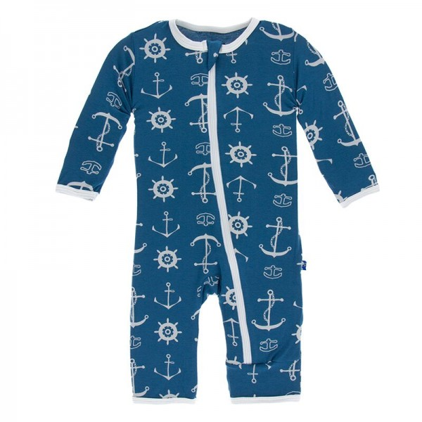 Print Coverall with Zipper in Twilight Anchor