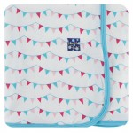 Print Muffin Ruffle Footie with Zipper in Flamingo party Flags