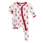 Print Muffin Ruffle Footie with Zipper in Natural Gumball Machine