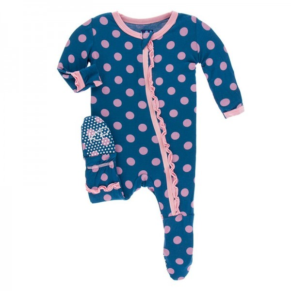 Print Muffin Ruffle Footie with Zipper in Twilight Dot