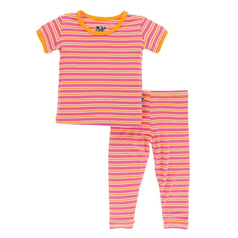 b76e43dc6 Kickee Pants Print Short Sleeve Pajama Set in Flamingo Brazil Stripe ...