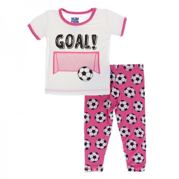Print Short Sleeve Pajama Set in Flamingo Soccer