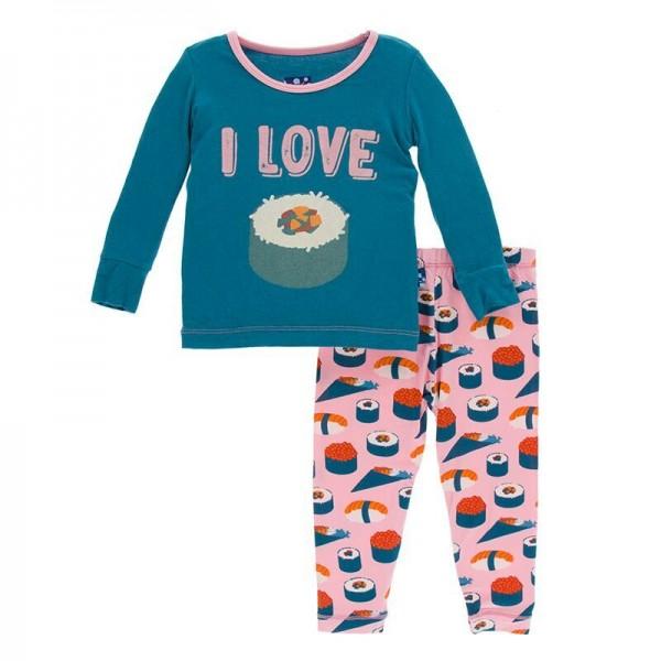 Print Long Sleeve Pajama Set in Lotus Sushi
