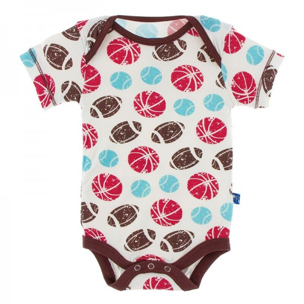 Print Short Sleeve One Piece in Natural Sports