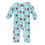 Print Muffin Ruffle Coverall with Zipper in Tallulahs Butterfly