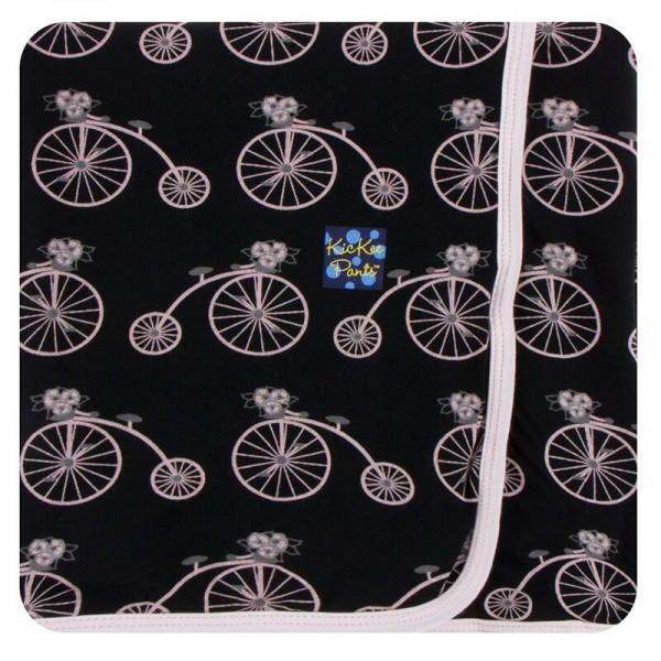 Print Swaddling Blanket in Girl Midnight Bikes