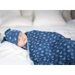 Swaddling Blanket in Twilight Tiny Whale