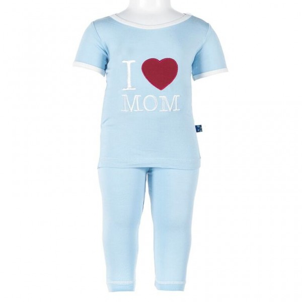 Short Sleeve Applique Pajama Set in Pond - I love Mom