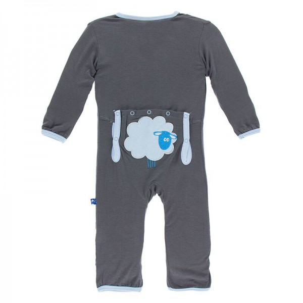 Applique Coverall with Zipper in Stone Sheep