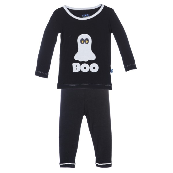 Holiday Long Sleeve Appliqué Pajama Set Midnight BOO