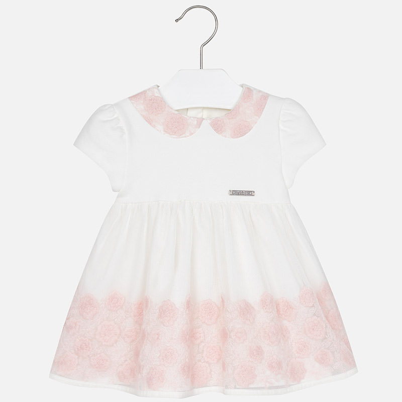 14f1d86c7 Mayoral Baby Girl Embroidered Tulle Short Sleeve Dress | Yogaso Boutique