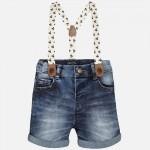 Baby Boy Denim Shorts with Suspenders
