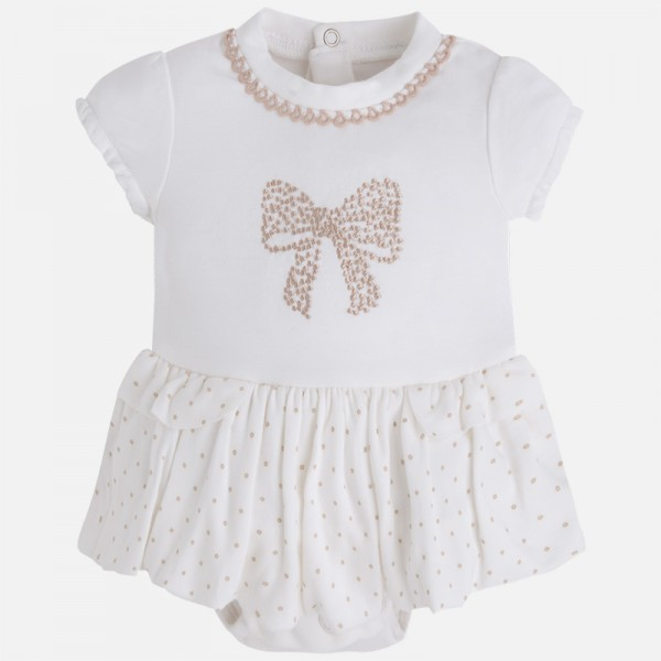 Baby Girl Skirted Onesie with Embroidered Bow