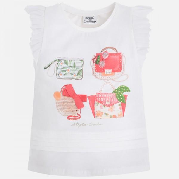 Girl Pleated Sleeve T-shirt With Handbag Print