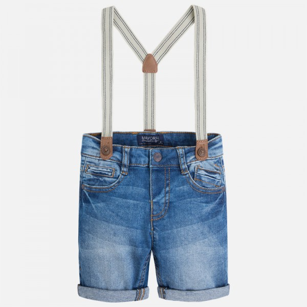 Boy Denim Shorts with Suspenders