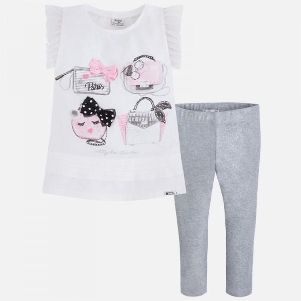 Girl Cropped Leggings and Short Sleeve t-shirt Handbag Print