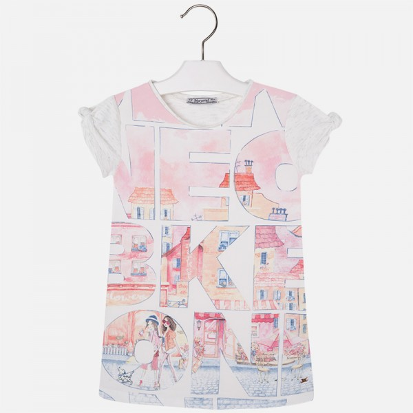 Girl City Print Dress with Knot on Sleeve