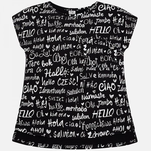 Girls Black Text Print T-Shirt (Well, Hello!)