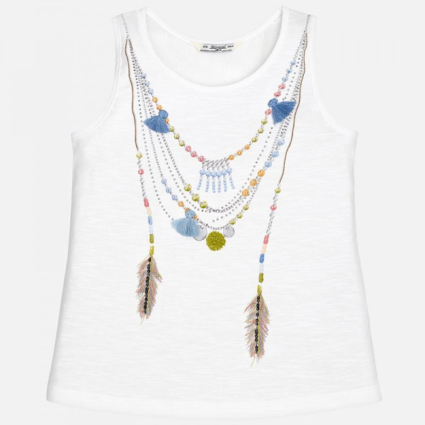 Girl Tank Top with Embroidered Neckless Appliqué
