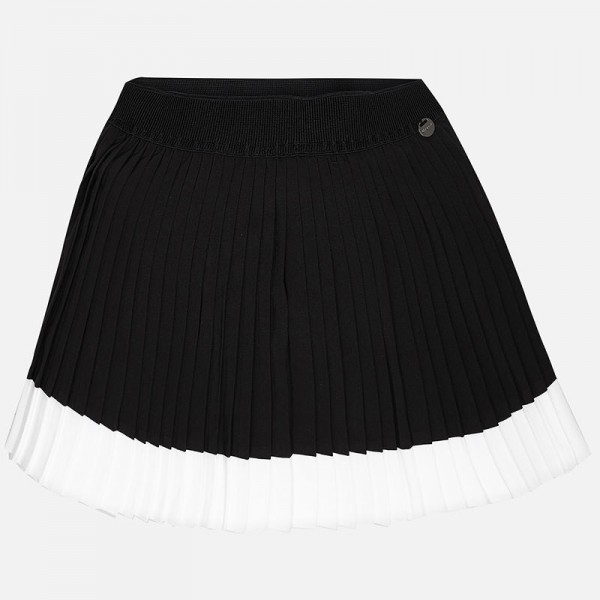 Girl Short Pleated Crepe Skirt