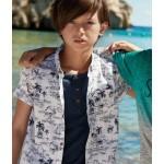Nukutavake Tropical Print Shirt and Henley Mock Layer Top