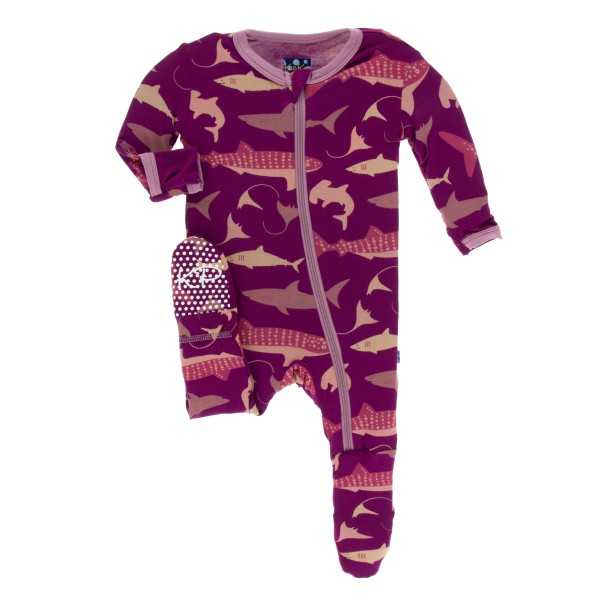 Print Footie with Zipper in Melody Sharks