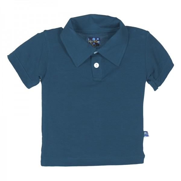 Solid Short Sleeve Polo in Peacock