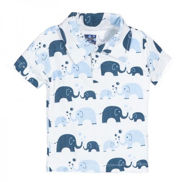 Print Short Sleeve Polo in Boy Bubble Elephant