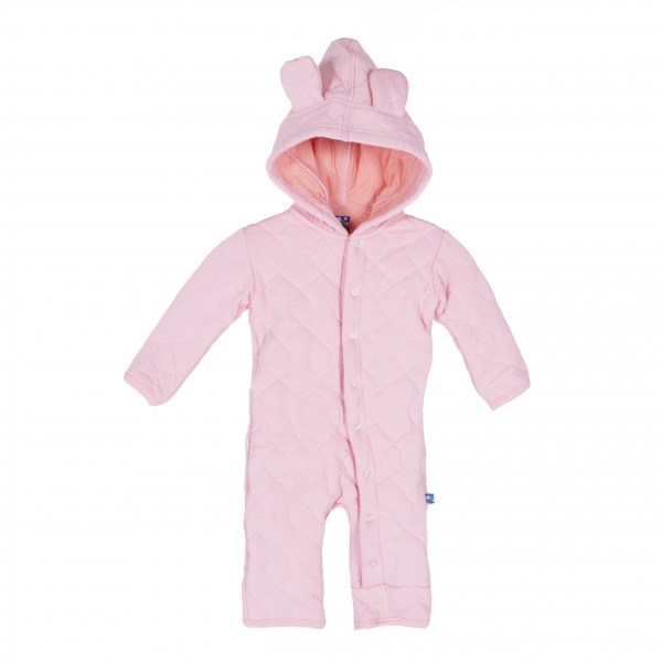 Quilted Hoodie Coverall with Ears in Lotus with Blush