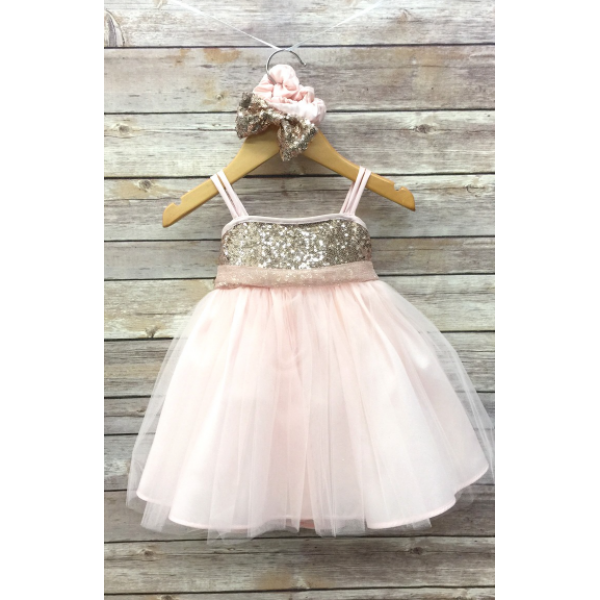 SEQUIN TOP DRESS W/ TULLE