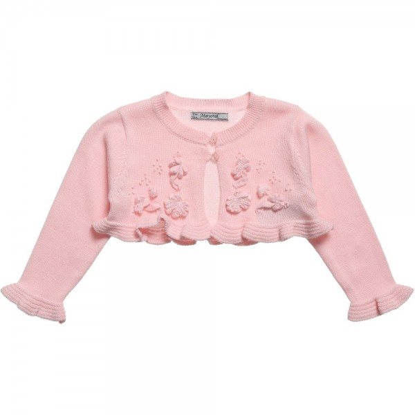 PINK KNITTED COTTON BABY BOLERO CARDIGAN