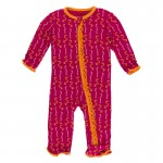 Print Muffin Ruffle Coverall with Zipper in Rhododendron Worms