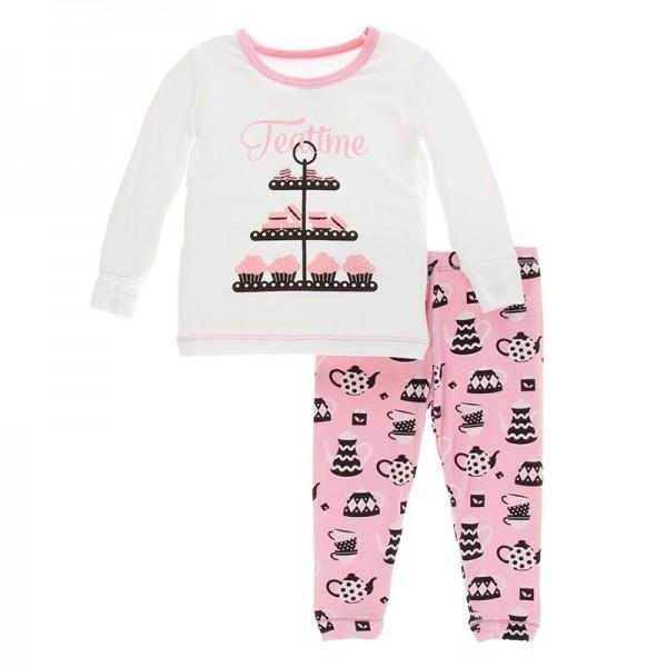 Print Long Sleeve Pajama Set in Teatime