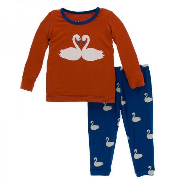 Print Long Sleeve Pajama Set in Navy Queen's Swans