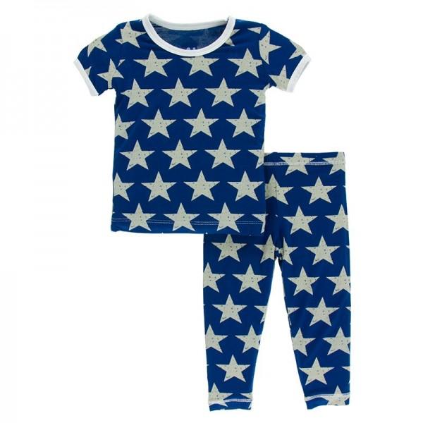 Print Short Sleeve Pajama Set in Vintage Stars