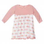 Print Long Sleeve Swing Dress in Girl Cowfish