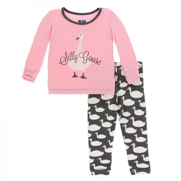 Print Long Sleeve Pajama Set in Stone Geese