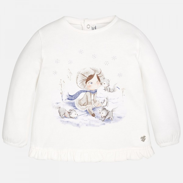 Baby Girl Long Sleeve T-shirt with Elastic Cuffs