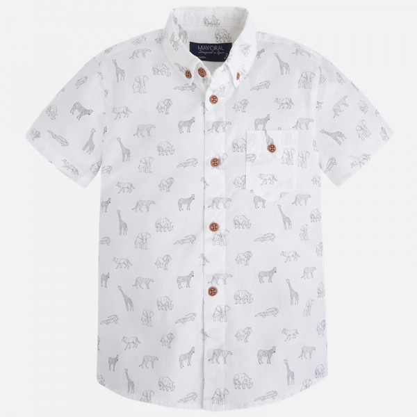 Boy Short Sleeve Shirt with Animal Print
