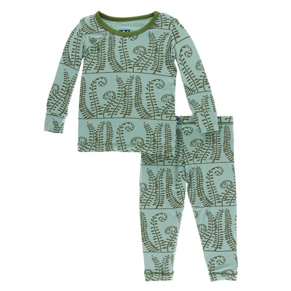 Print Long Sleeve Pajama Set in Shore Ferns